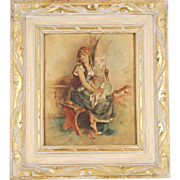 19th Century Oil Painting Pretty Barefoot Girl Seated on Bench