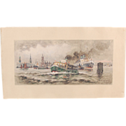 1922 German Watercolor Painting Steamships Ocean Liners in Hamburg Harbor