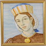 Handpainted Faience Pottery Tile Portrait Plaque of Young Woman signed Aquila