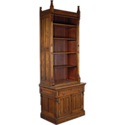 As-is Victorian Renaissance Revival Bookcase Cabinet Gothic Finials