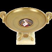 19th C. Bronze Tazza Dish with Enamel Portrait of Pre-Raphaelite Beauty