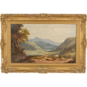 Antique British Oil Painting Cader Idris Mountain Gwynedd Wales George Turner