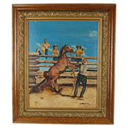Vintage Oil Painting Cowboy w Rearing Horse in Split Rail Corral w Kids watching