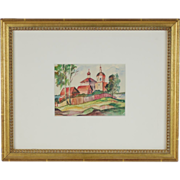 Russian Watercolor Painting Pastoral Scene with Orthodox Cathedral