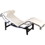 Modernist Le Corbusier LC4 Chaise Lounge Tubular Steel Chrome White Leather