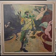 "Large 1964 Joyce Wahl Treiman Oil Painting ""Tour Through Ribera II"""