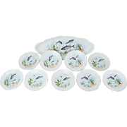 Antique Austrian Porcelain Fish Service Set Serving Platter 9 Individual Plates