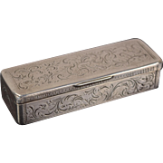 19th Century Austrian Sterling Silver Engraved Match Safe Snuff Box