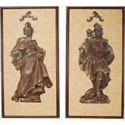 """Pair Mid-Century Figural Paintings """"Austrian Rococo"""" Mixed-Media on Grasscloth"""