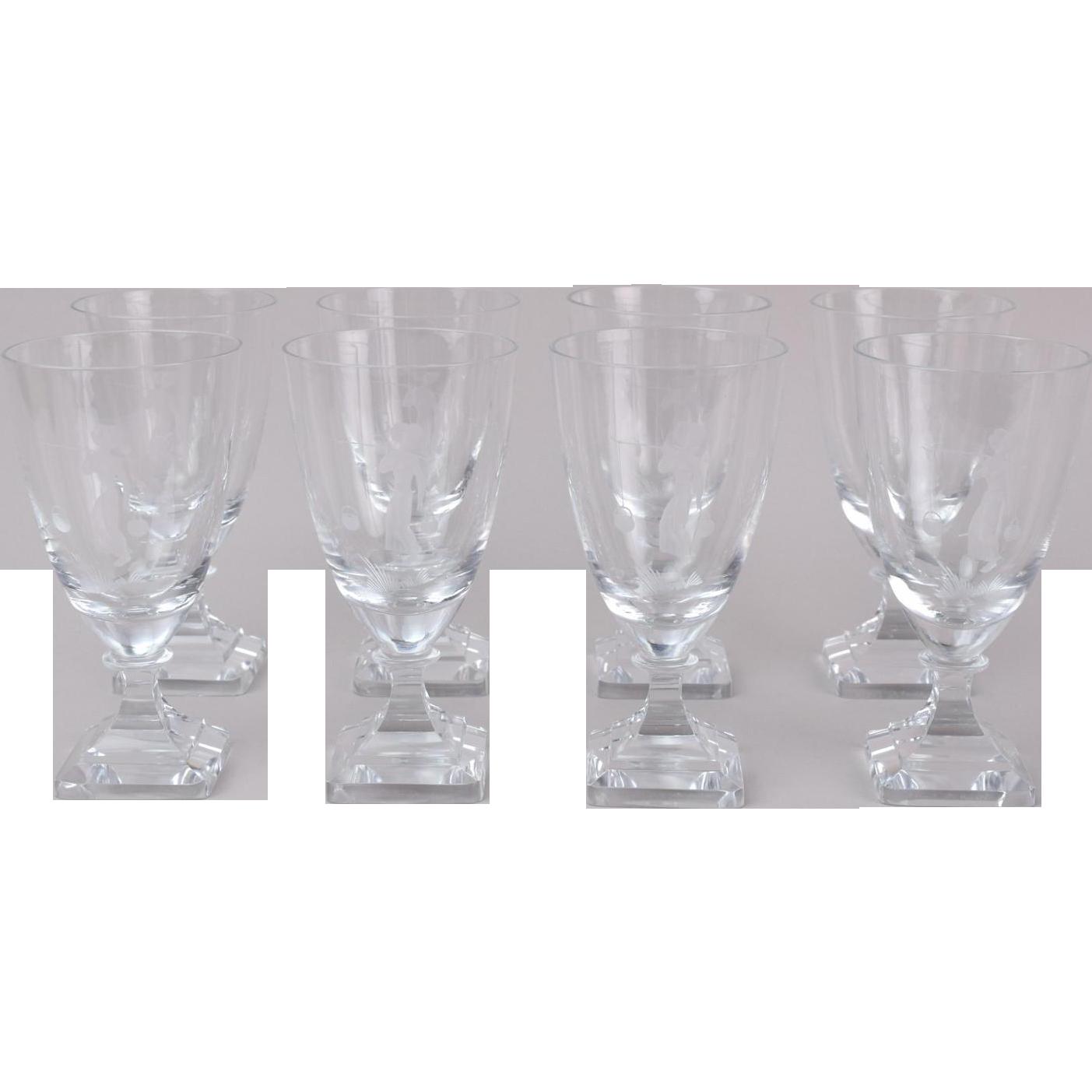 set  vintage midcentury modern cut crystal water glasses nude  - set  vintage midcentury modern cut crystal water glasses nude water bearer