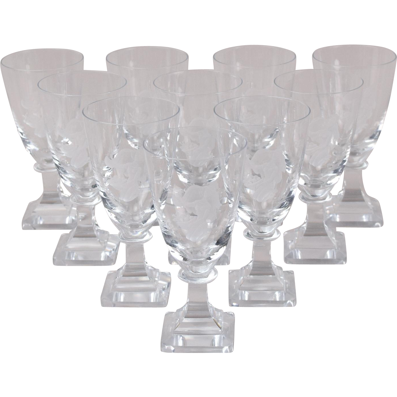set 10 midcentury modern cut crystal wine glasses woman in diaphanous gown