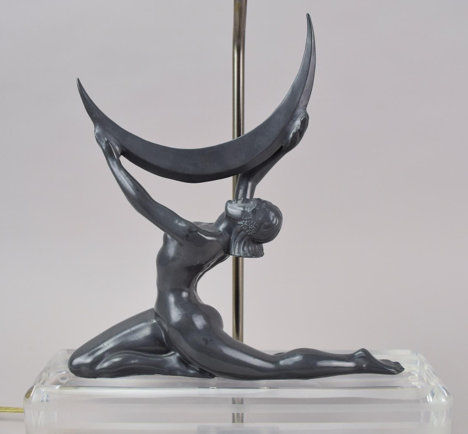 Art Deco Table Lamp Nude Holding Crescent Moon Lucite Base