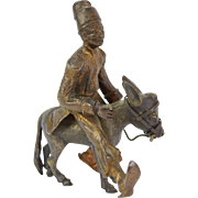 Antique Vienna Orientalist Bronze Figure North African in Fez Riding Donkey