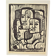 """Mid-Century Modern Woodblock Print Abstracted Faces """"Family"""""""