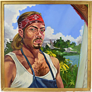 Oil Painting Portrait of Man Wearing Tank Top and Bandana Bondgren Chicago Artist