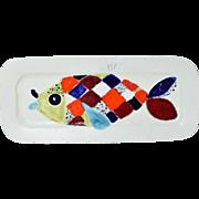 Mid-Century Modern Abstract Pottery Fish Platter Ursula Schneider Atelier Rabiusla