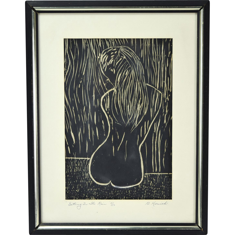 Mid-Century Woodblock Print Nude Girl Sitting in the Rain