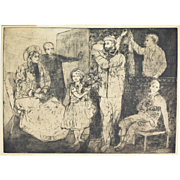 "1951 Large Ethereal Etching of Ancestors Titled ""Family Portrait"" signed Elger?"