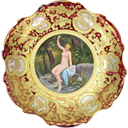 Royal Vienna Hand Painted Porcelain Charger Nude Bather Signed Ulmer