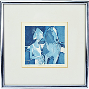 """""""Equestrienne"""" Abstracted Woman with Horse by J. Manuel Vintage L/E Etching"""