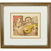 """""""Intimate Serenade"""" Jorge Dumas Abstracted Figures Signed Lithograph Uruguayan"""