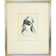 French Mid-Century Modern Etching Woman in Mask by Jean Claude Vignes