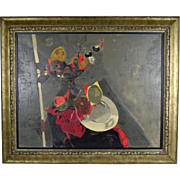 Vintage Mid-Century Modern Abstract Still Life Oil Painting by Andre Segovia