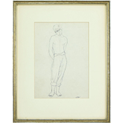 French Mid-Century Original Drawing Bare Chested Boy Jean Claude Vignes