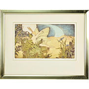 Artist Signed/Limited Hand Colored Fairy Etching Joy Wallace Nocturnal Flight