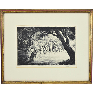 Vintage 20th Century Engraving Nude Villagers Bathing in Pond signed