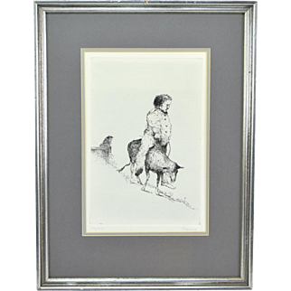 Original Etching Man on Donkey signed Vincent Capraro NYC artist