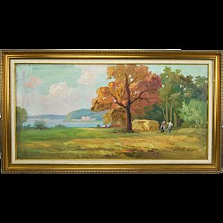Vintage Impressionist Landscape with Peasant Farmers Harvesting Hay Signed