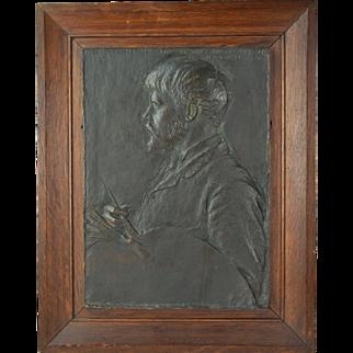 """1880 Augustus Saint-Gaudens """"Portrait of Jules Bastien Lepage"""" Bronze Relief Plaque"""