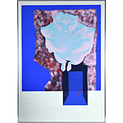 Color Lithograph Abstract Composition w Nude sgnd Moshe Givati Israeli