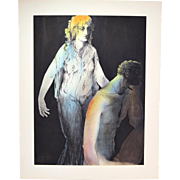Original Watercolor Painting Nude Woman in Diaphanous Gown Laszlo Matulay