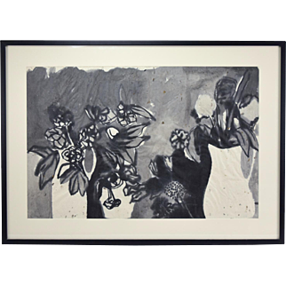 1959 Mid-Century Modern Abstract Black & White Flowers Painting Clare Bush