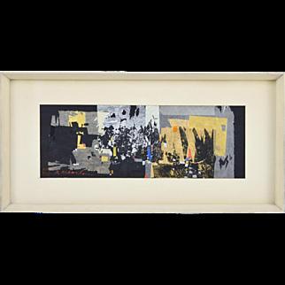 Atsushi Kikuchi Mid-Century Modern Abstract Collage Painting Japanese Chicago Artist