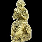 19th Century Gilt Bronze Sculpture Classical Woman Plucking Petals from Flower