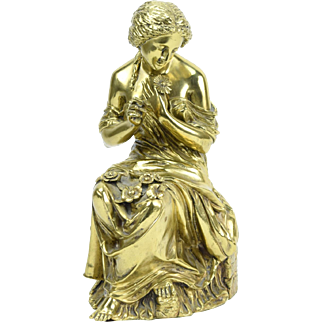 19th Century Gilt Bronze Sculpture Classical Woman Plucking Petals from Flower