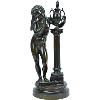 Vintage Bronze Sculpture of Cupid Dropping Torch Holding Flaming Urn Lost Love