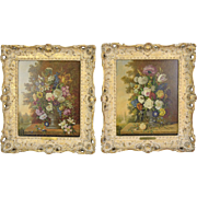 Pair Austrian Romantic Still Life Paintings Opulent Floral Bouquets by Karl Heiner