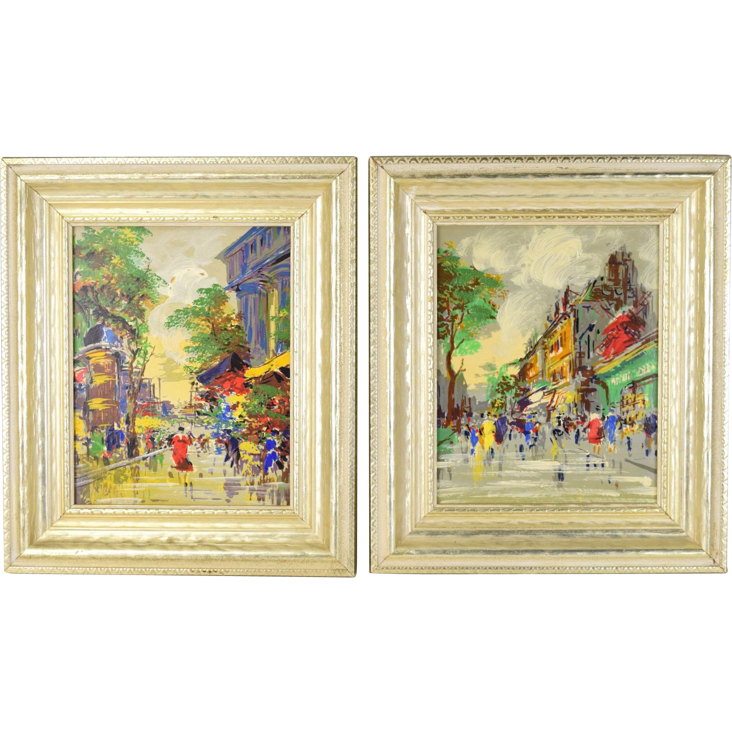 Pair Vintage Mid-Century Modern Abstract Oil Painting Street Scenes