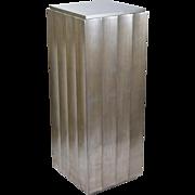 Vintage Modern Brushed Silver Crinkle Cut Pedestal Plant Stand