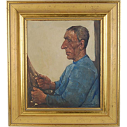 Willem Van Den Berg Oil Painting Dutch Fisherman with Gold Earring