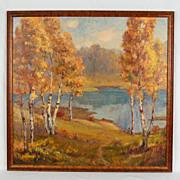 Autumn Lake Landscape Oil Painting Susan Hayward Schneider Pennsylvania Artist