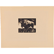 Depression Era Yellowstone Park Block Print of Bison by Charles Malcolm Campbell