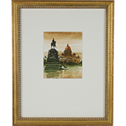 Russian Watercolor Painting Monument to Tsar Nicholas St. Petersburg