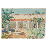 1930 California Watercolor Spanish Colonial Courtyard w Fountain Signed Foster