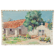 1931 California Watercolor Spanish Colonial Home w Seated Figure  Signed Foster