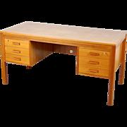 Vintage Scandinavian Modern Teak Locking Desk Parquet Top
